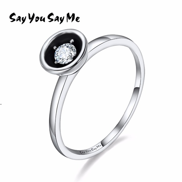 925 Sterling Silver Black Liner Rings Wedding&Engagement Jewelry Punk Rock Rings