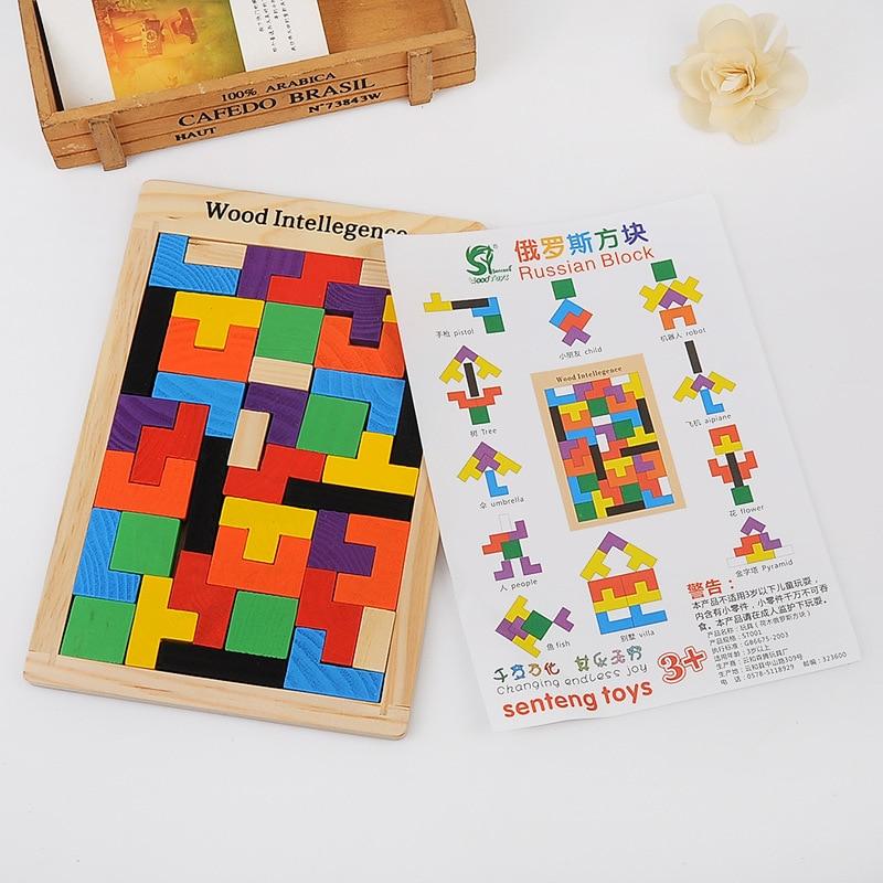 Vruće prodaja šarene drvene tangram mozgalice puzzle igračke - Igre i zagonetke - Foto 2