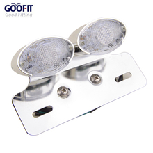 GOOFIT Chrome Motorcycle Brake Tail Light With Integrated INTEGRATED Turn Signals J065-867
