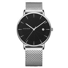 Fashion simple black quartz watch alloy strap casual mens gifts