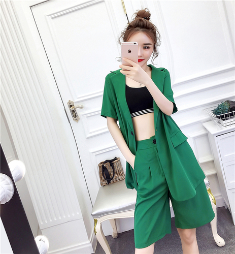 Fashion Two Piece Set Women 2019 Korean Suit Woman Short Sleeve Casual High Waist Green Ladies Breeches Blazer Sets 2 Pcs