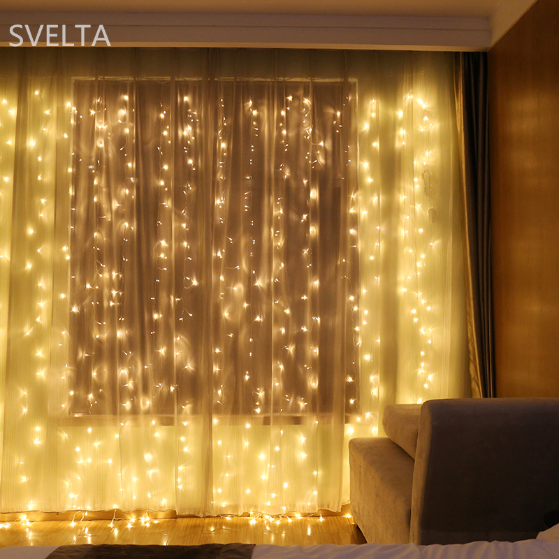SVELTA 10x1M LED Garland Jul Curtain String Lights Dekorativa Festoon - Festlig belysning