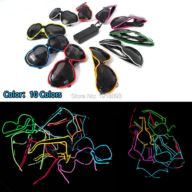 Hot heart-sharped EL Wire Neon LED Strip Glasses Lover's Gift For Christmas Haloween Party 10 color select by 3V Driver