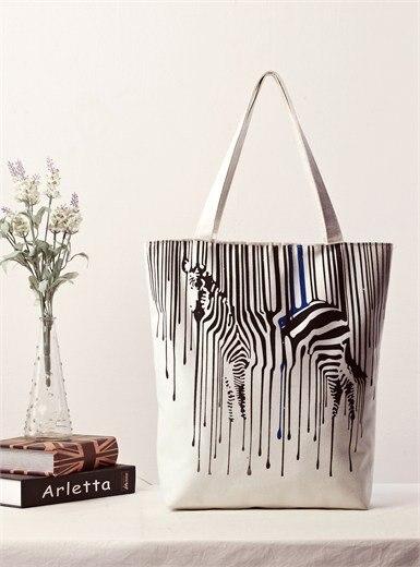 Zebra Pattern Shopper Canvas Women Tote Shopping Bags Casual Handbags 5