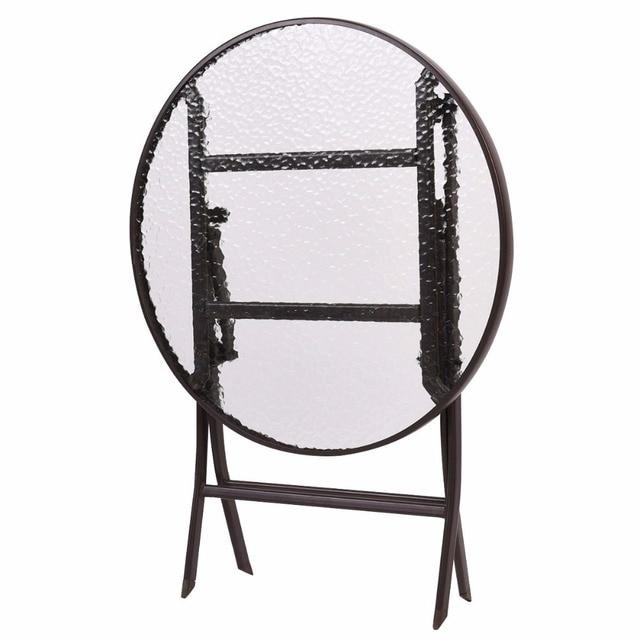 GOPLUS 3PCS Wicker Rattan Outdoor Dinning Table Chair Set Patio Furniture Folding Backyard Ratten Garden Set for Home HW51711