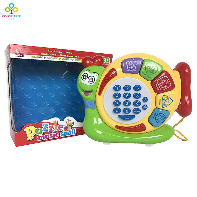 New Popular Musical Instrument Baby Toy Musical Cartoon Mobile Phone Music Snail Educational Learning Toys Baby Gift