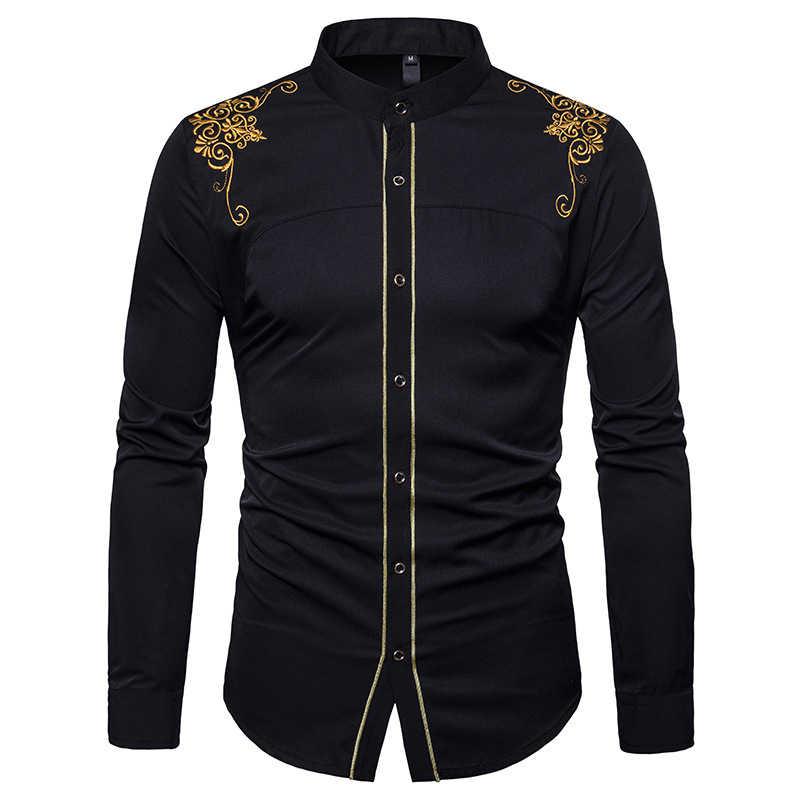 d6128e9ec26 ... Дворец Золотой цветок вышивка рубашка Для мужчин 2018 Фирменная Новинка  с длинным рукавом мужская одежда рубашки ...