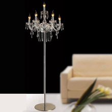 Free shipping luxury fashion brief romantic bedside k9 crystal floor lamp for living room modern standing lamp for living room
