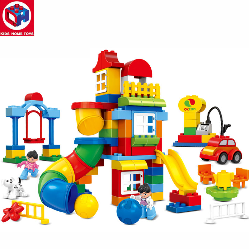 Kids's Home Toys 100PCS Happy Pipeline Paradise Large Size Building Blocks Large Particles Brick Kids Toys Compatible Duplo qwz 39 65pcs farm animals paradise model car large particles building blocks large size diy bricks toys compatible with duplo