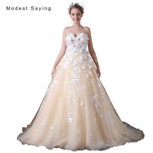 Luxury Ivory and Champagne Ball Gown Beaded Lace Floral Wedding Dresses 2017 Women Long Puffy Bridal Gowns vestido de noiva A034