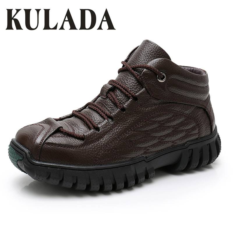 KULADA Hot Men Boots Super Warm Genuine Leather Winter Boots Men Winter Shoes Men Military Fur Boots For Men Shoe Zapatos Hombre