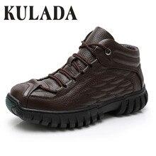 KULADA Hot Men Boots Super Warm Genuine Leather Winter Boots Men Winter Shoes Men Military Fur Boots For Men Shoe Zapatos Hombre