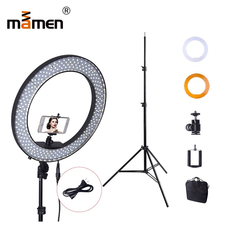 18 Inch 55W Mamen 5500K Photography Lighting 240pc Camera LED SMD Ring Light Dimmable Adjustable 200CM Tripod Makeup Ring Lamp18 Inch 55W Mamen 5500K Photography Lighting 240pc Camera LED SMD Ring Light Dimmable Adjustable 200CM Tripod Makeup Ring Lamp