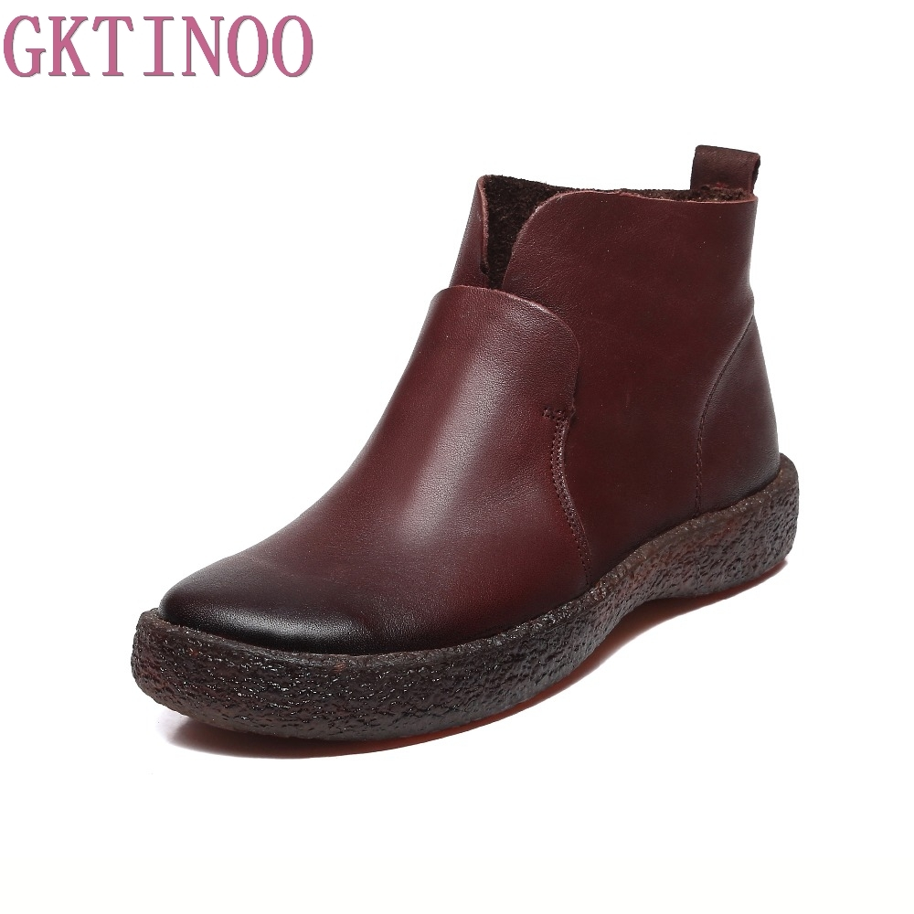 GKTINOO 2018 Fashion Handmade Boots For Women Genuine Leather Ankle Shoes Vintage Mom Women Shoes Round Toes Martin Boots tastabo 2017 fashion handmade boots for women genuine leather ankle shoes vintage mom women shoes round toes martin boots