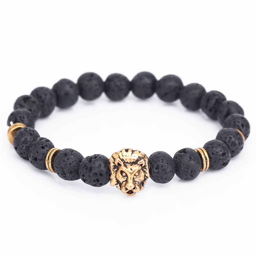 Fashion Men Lion Head Buddha Bead Bracelet Black Lava Stone Beads Charm Bracelets & Bangles For Men Accessories Gift