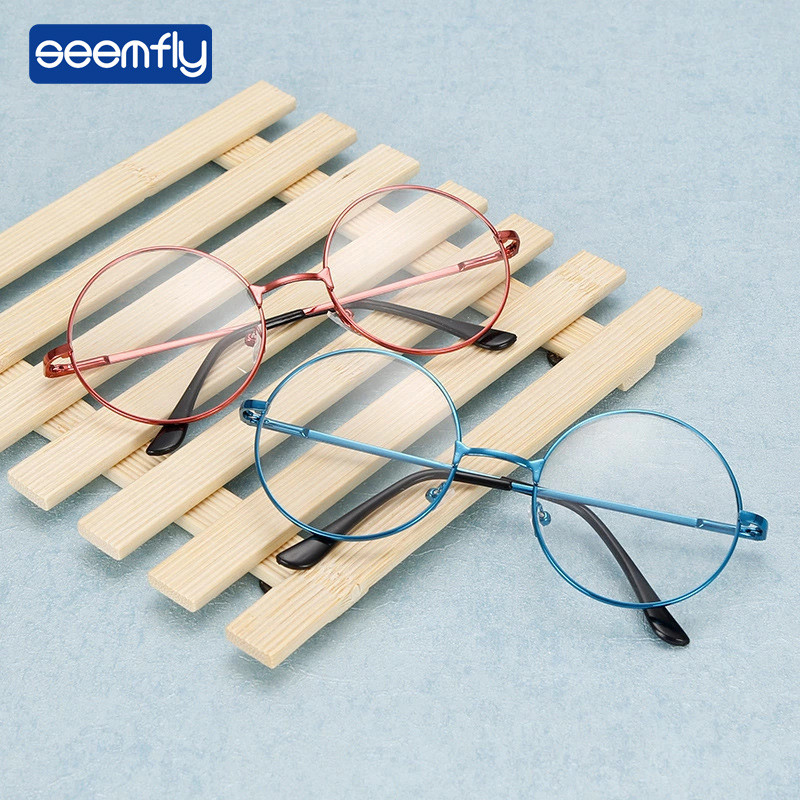 Seemfly Retro Round Clear Lens Glasses Flat Mirror Optical Alloy Frames Women Harajuku Transparent Eyeglasses Frame Fake Glasses