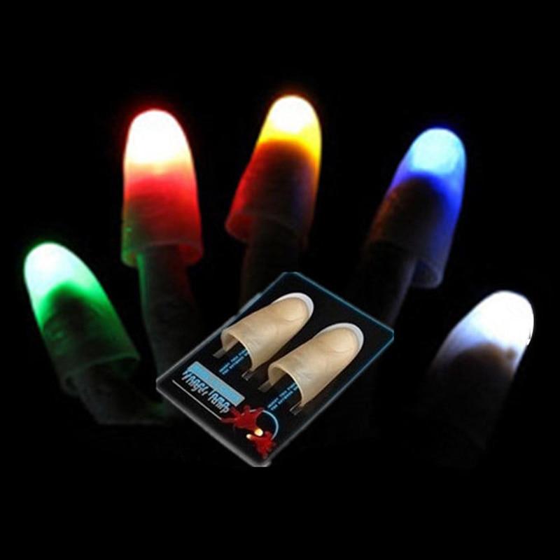 AKDSteel 1 Pair Creative Magic Laser Gloves LED Light Magic Trick Finger Lights For Dance Party Props Lighting