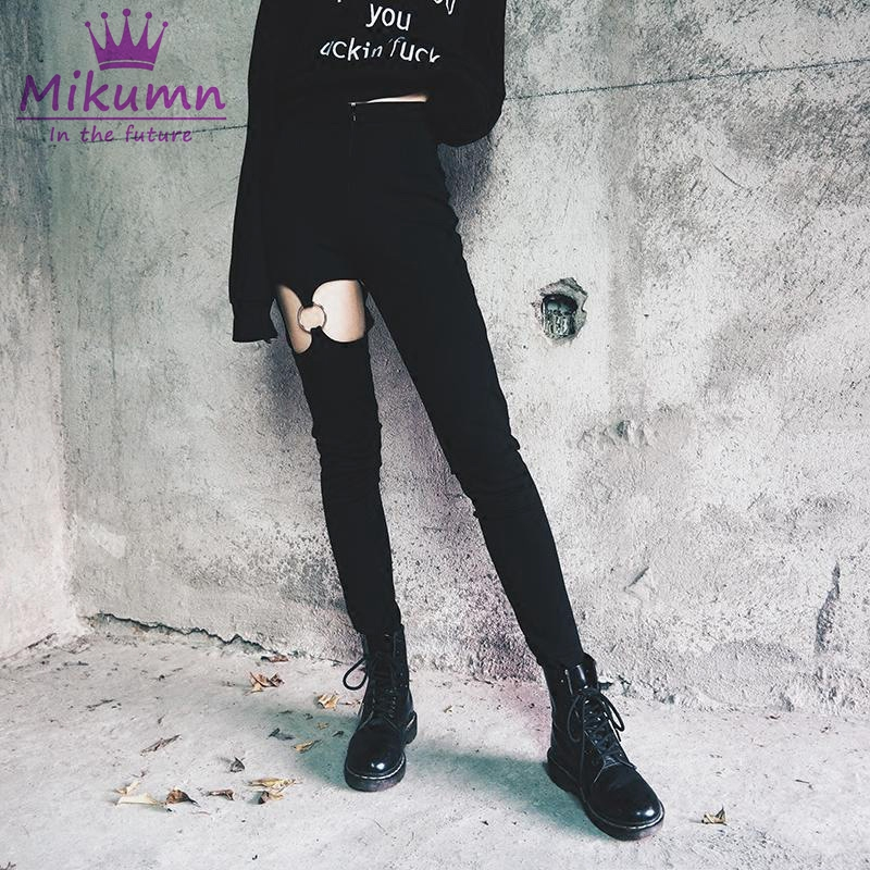 Fashion Punk Women   Pants     Capris   Sexy Hollow Out Leg Ring Garter Slim High Waist Thin Pencil   Pants   Gothic Girls Female Trousers