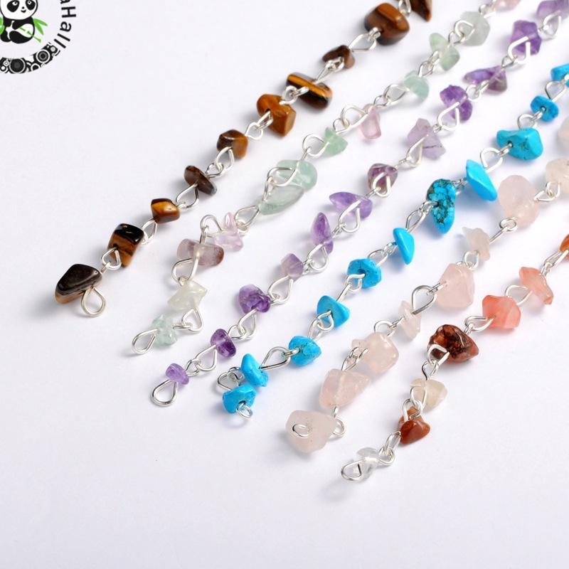 ヾ(^▽^)ノHecho a mano piedra perlas cadenas para collares pulseras ...