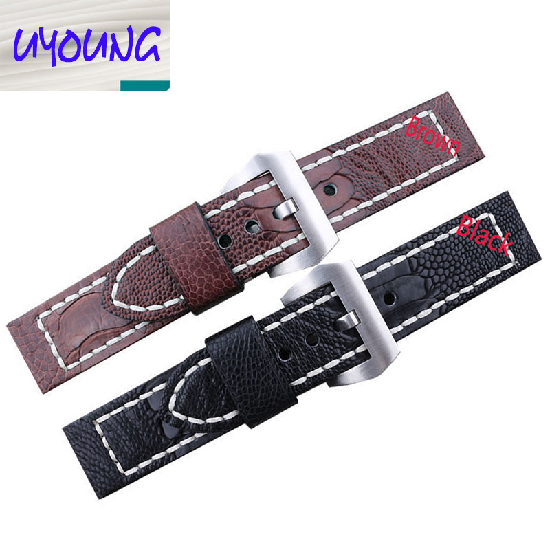 Watch band 24mm26mm New Men Dark Brown and Black Real Genuine Ostrich Skin Leather Watchbands Watch Straps Bracelets Watchbuckle luxury high quality men women 20mm genuine leather ostrich skin wristwatch straps accessrioes bracelets with for branded watch