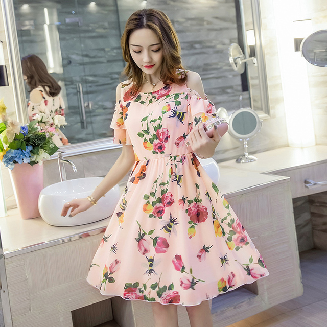 dac813914c2 New2017Women cute summer dress plus size floral printed knee-length chiffon  dresses off the shoulder