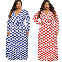 Plus Size 5XL 2019 Ukraine Folk Abaya Kimonos African Musulmane Digital Print Polka Dot Maxi Dress Women Bandage Bodycon Dresses