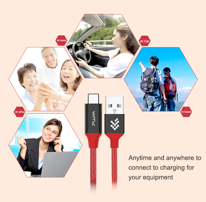 USB Type-C 3.0 Red Braided Cable 10