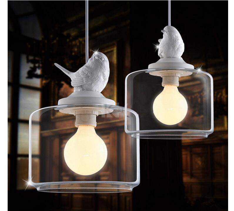ФОТО Free Shipping 1L LED D200mm Modern Nordic Style Creative Brief Restaurant Lights Bird Personalized Rustic Glass Pendant Lamp