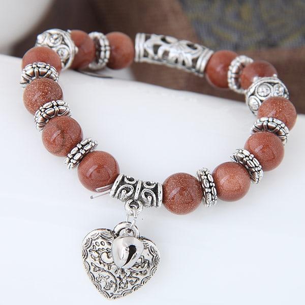 Heart pendant vintage crystal opal handmade beaded charm bracelets natural stone bracelets bangles antique silver for women