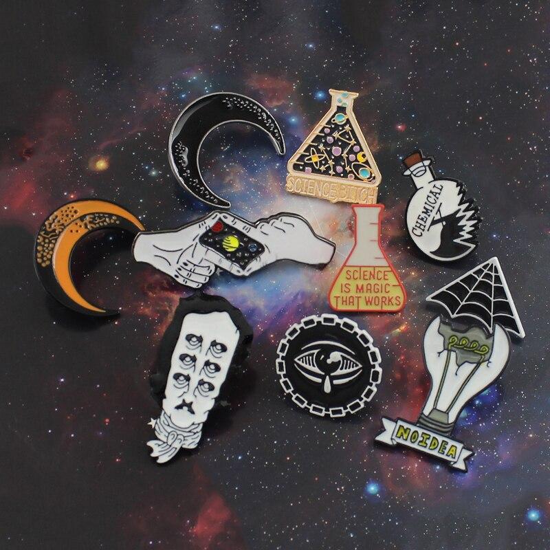 Planet Science Science Is Magic Clumsy Professor/Chemistry X Cobweb Devil Eye Edgar Allan Poe Star Moon Light Bulb Brooch