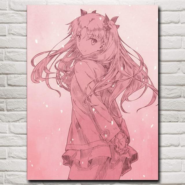 Anime Niñas serie destino tohsaka Rin arte seda cartel impresiones ...