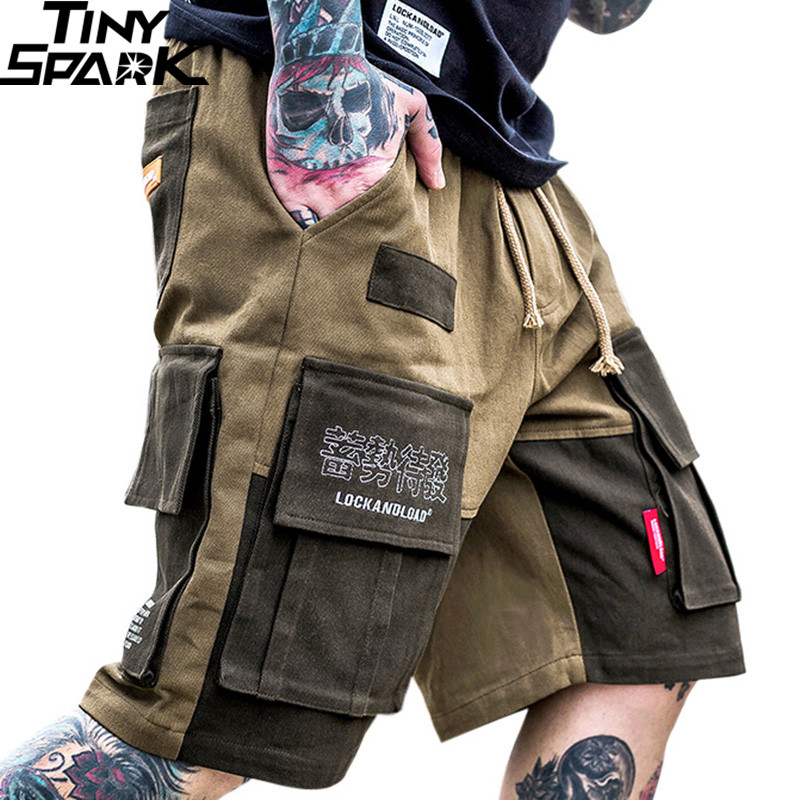 2019 Harajuku Cargo   Shorts   Pocket Kanji Streetwear Men Hip Hop   Short   Joggers Color Block Casual Tatical Military   Short   Baggy Fit