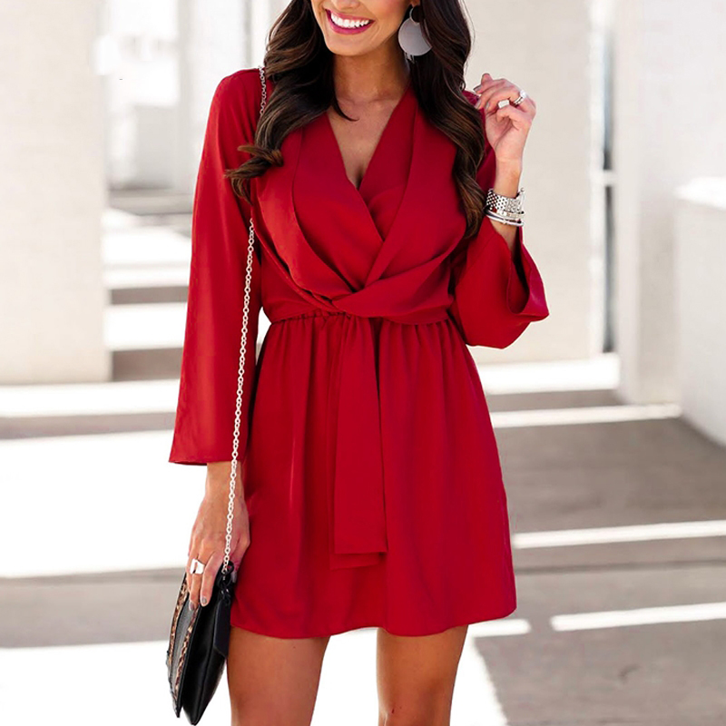 Vintage Long Sleeve Chiffon Summer <font><b>Dress</b></font> Women Black Bow Office Bandage <font><b>Dresses</b></font> <font><b>Sexy</b></font> <font><b>Red</b></font> Female Ladies <font><b>Short</b></font> <font><b>Dress</b></font> Festa V-Neck image