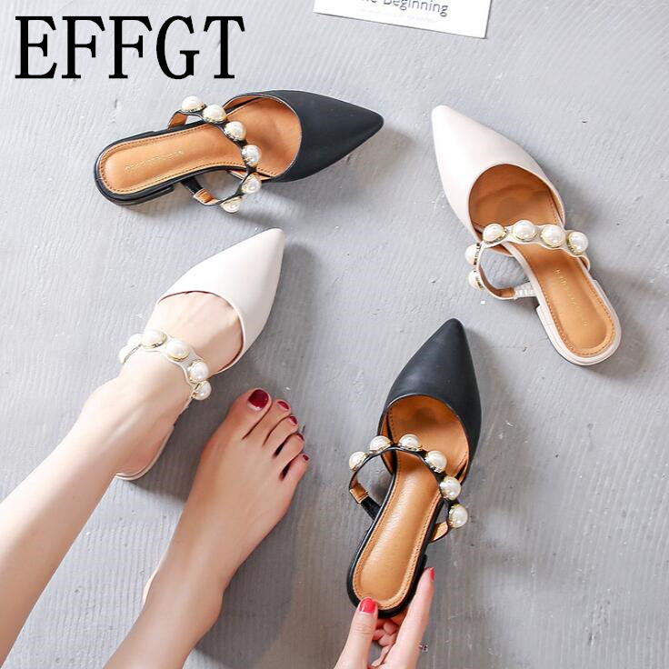 EFFGT 2019 Women Brand Slippers Low Heel Women Casual Slipper Slip On Mules Slides Pearl Pointed Toe Single Shoes Sandals