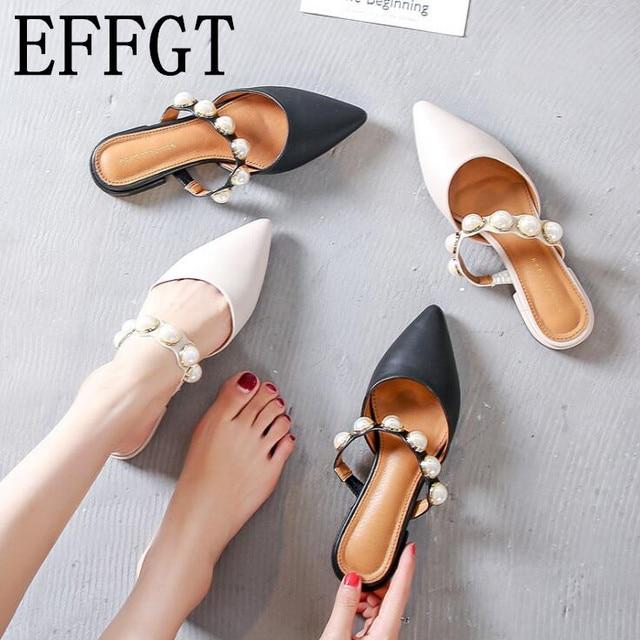 EFFGT 2019 נשים מותג נעלי עקב נמוך נשים מקרית סליפ פרדות שקופיות פנינת הבוהן מחודדת אחת נעלי סנדלי