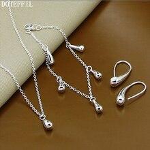 Hot 925 Sterling Silver Water Drop Bracelet Necklace Earring Women Fashion Charm Silver Necklace Bracelet Earring Jewelry цена 2017