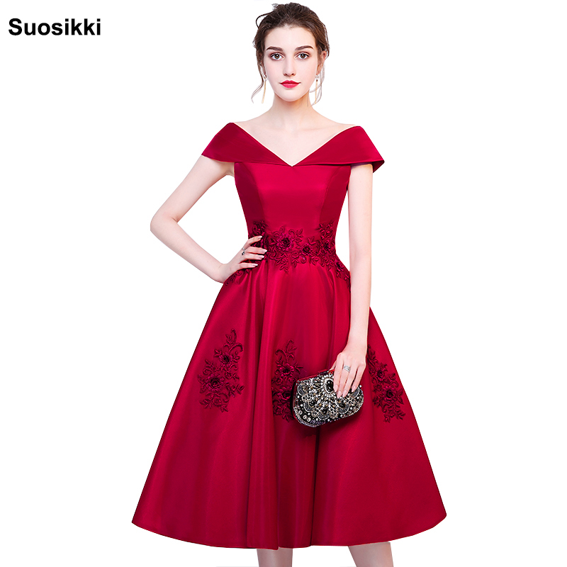 Vestido coktail 2018 New   cocktail     dresses   Bride Married Banquet suosikki Short Prom   Dress   Plus Size Party evening Formal gown