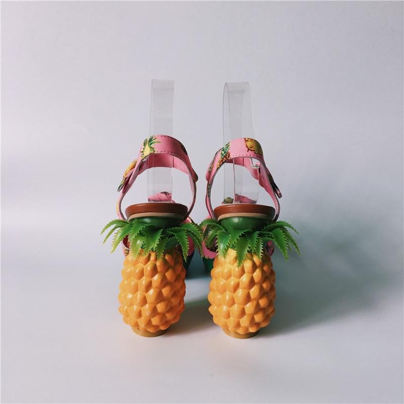 forme Talons À Bride D'été Plate Sandales Ananas Dames Chunky Hauts Stiletto Chaussure Chaussures Sandalias Femmes Rose La Femme Cheville 7ERq4YEw