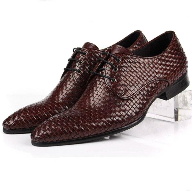 Тканые дизайн острым носом мужские бизнес обувь натуральная кожа мужские платье обувь формальные свадебные туфли