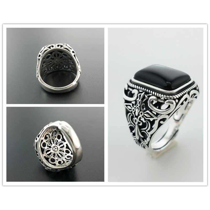 Real 925 prata esterlina anéis do vintage para homens natural preto ônix pedra forma quadrada oco cruz flor esculpida punk jóias