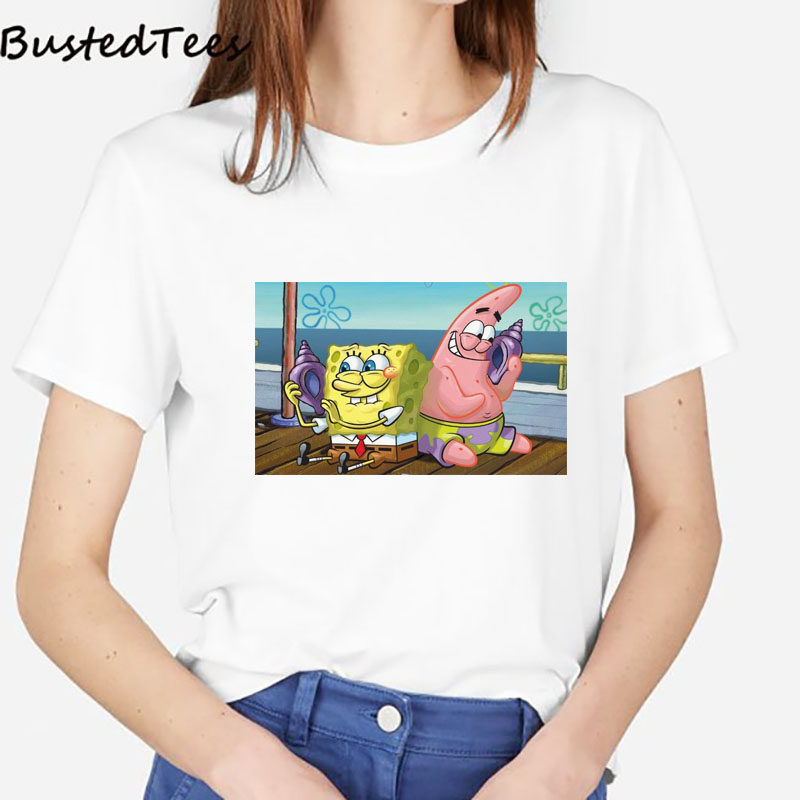 2019 BUSTED Women's Fashion Style White Short Sleeve T-shirt Cotton Soft Summer Print Casual SpongeBob And Patrick Star Tops Tee