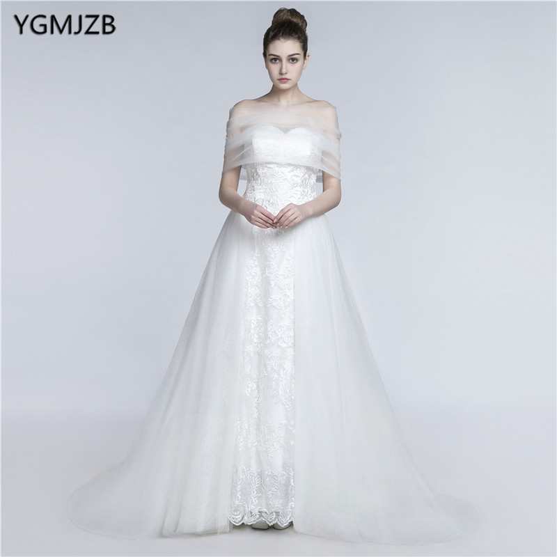White Long Wedding Dresses 2018 A-Line Sweetheart Backless Appliques Lace Beaded Crystal Plus Size Wedding gown Vestido De Noiva