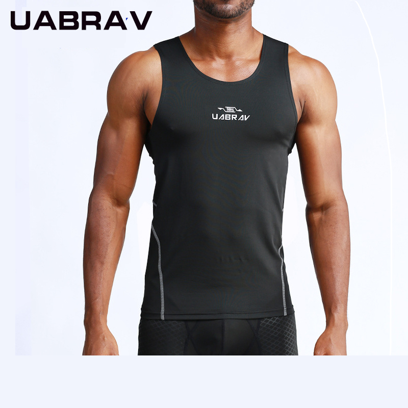 UABRAV Men Running Vests Summer Breathable Run short T-Shirt Tank Top Fitness Bodybuilding Workout Gym Sport Sleeveless Shirts