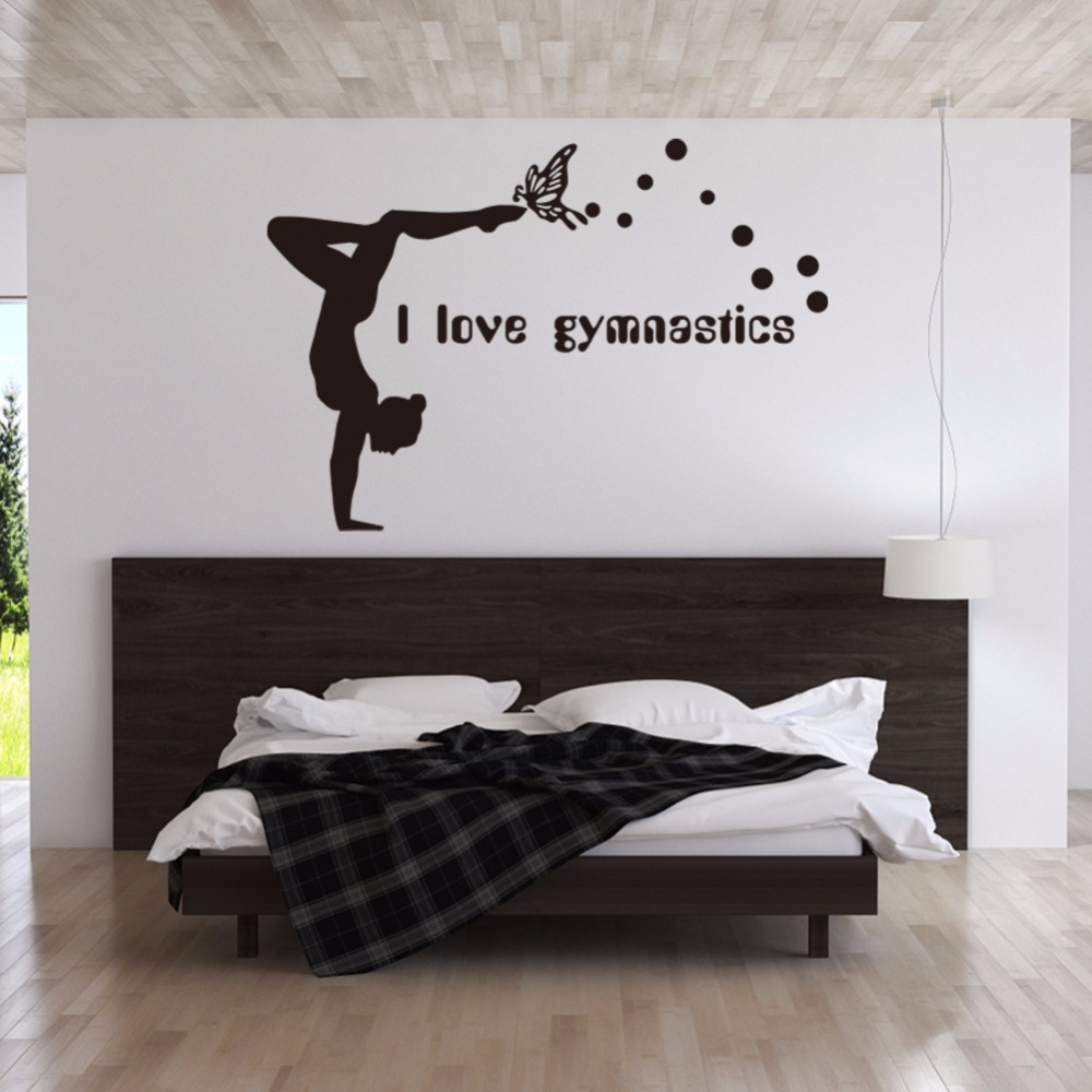 I Love Gymnastics Vinyl Wall Decal Girls Room Decor Diy Art Mural Wallpaper Removable Stickers In From Home Garden On Aliexpress