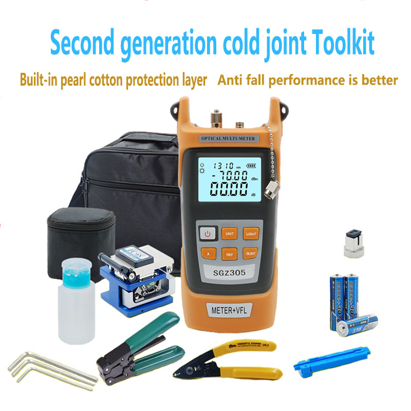 Fiber Optic FTTH Tool Kit with FC 6S Fiber Cleaver and Optical Power Meter 5km Visual Fault Locator Wire stripper Glasve Optisch-in Fiber Optic Equipments from Cellphones & Telecommunications