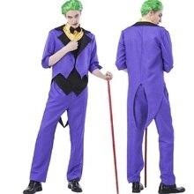 Джокер топы, штаны куртка мужская комплект Бэтмен Форрест Гамп рыцарь клоун Косплэй форма костюмы на Хэллоуин для мужчин