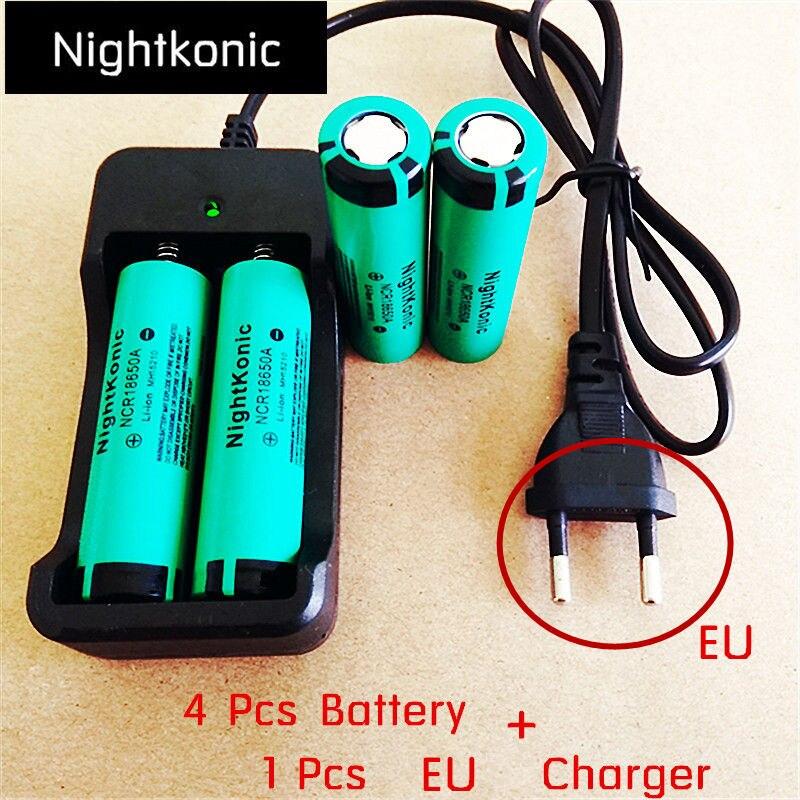 Original Nightkonic 4 pcs 18650 Bateria Li-ion 3.7 mAh 2000 V Bateria Recarregável N flat top VERDE + 1 pcs ue/eua slot 2 charg