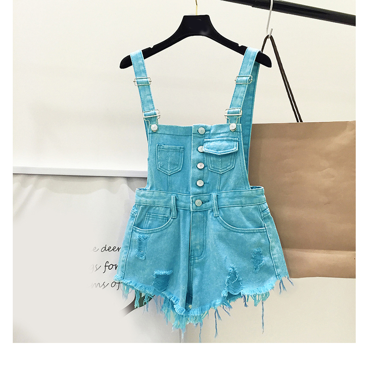 New style college wind cowboys back to wear shorts women summer holes loose Korean version of students show thin suspenders pants (18)
