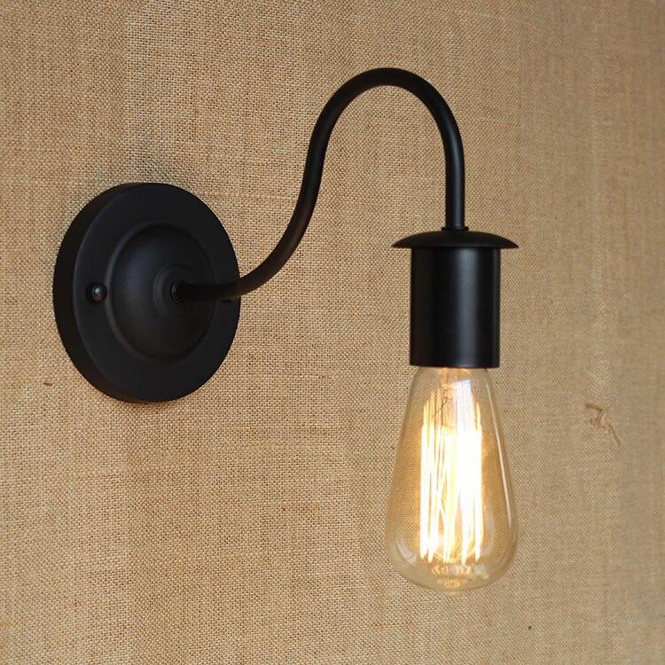 Modern Industrial Vintage Black Iron Edison font b bulb b font E27 Nordic Loft Style Curve