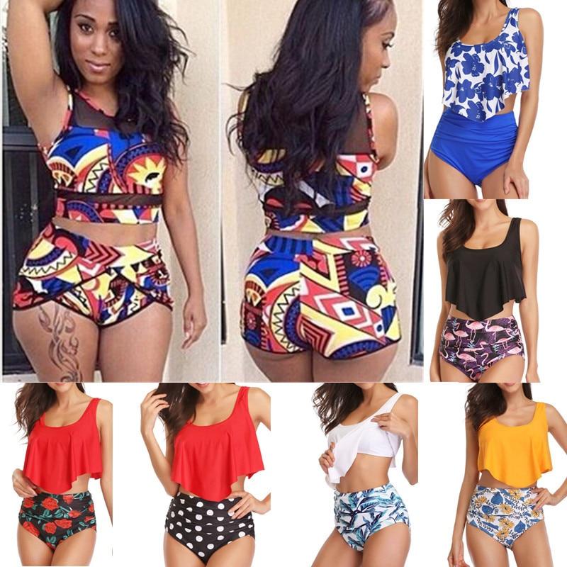 Women High Waist Bikini Swimsuit Plus Size Bathing Suit Vintage Print Large Two Piece Tankini Ruffle Waisted Swimwear 2019 XXXL